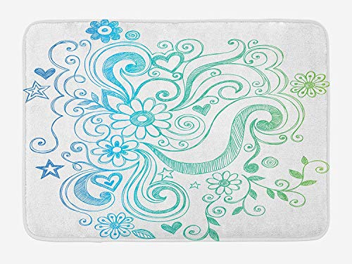 CHKWYN Flowers Bath Mat, Rainbow Colored Ombre Sketch Design with Florals Blossom Ivy Leaves, Plush Bathroom Decor Mat with Non Slip Backing, Blue White Turquoise Green,20X31 inch Ivy Leaf Cutter