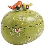 Villa d'Este Home Tivoli Bird Scatola Uovo, Ceramica Dipinta a Mano, 16 x 13,5 cm, Multicolore immagine