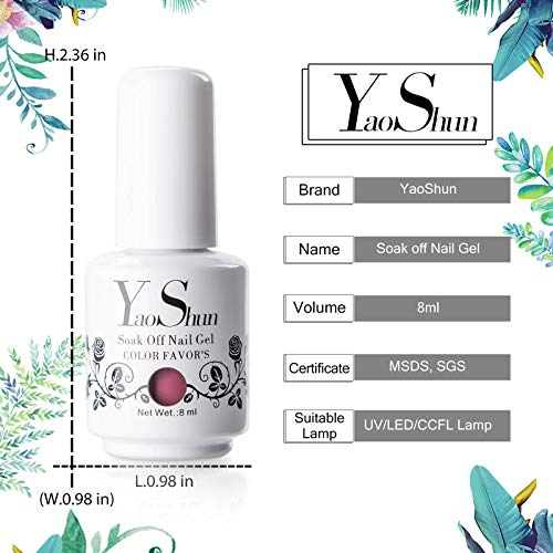 Y&S Soak Off Gel Nail Polish Sets 6 Colours Glitter UV LED Gel Polish Set Washable Manicure Varnish Kit #002, 8ml