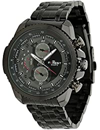 Forest Multifunction Look Black Dial Black Metal Strap Analogue Wrist Watch For Mens & Boys (FST-0007)