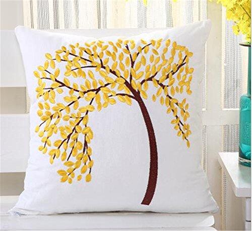 HACASO Stickerei Baumwolle Überwurf Kissen Fall, Floral Baum Muster Kissenbezug, Dekorative Kissenhülle 45,7x 45,7cm 18 X 18 inch Gelb - Florale Stickerei Kissen