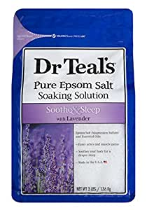 Dr Teal's Pure Epsom Salt Soaking Solution Soothe and Sleep with Lavender, 1.36 kg