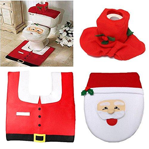 Laza WC-Sitz und Teppich-Set mit Tank Deckel Cover, Boden Teppich Vorleger und Taschentuchbox für Weihnachten Badezimmer Dekoration-Set von 3 Weihnachtsmann