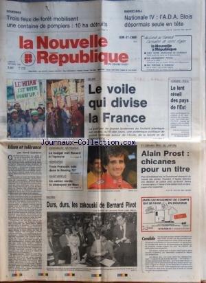 NOUVELLE REPUBLIQUE (LA) [No 13698] du 23/10/1989 - ISLAM / LE VOILE QUI DIVISE LA FRANCE - HONGRIE ET RDA / LE LENT REVEIL DES PAYS DE L'EST - ISLAM ET TOLERANCE PAR GUENERON - LE BUDGET MET ROCARD A L'EPREUVE - HONDURAS / 3 FRANCAIS TUE DANS LE BOEING 727 - LES SPORTS - PROST -