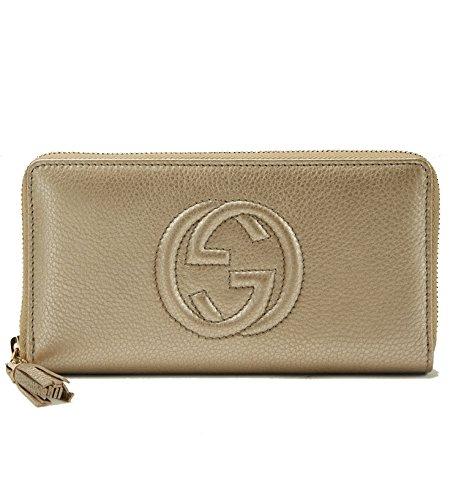 Gucci-Soho-Metallic-Silver-Grey-Leather-Tassel-Zip-Around-Wallet-308004