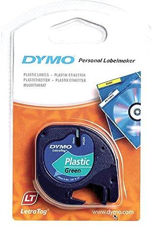 Dymo LetraTag Ruban Plastique 1,2 cm x 4 m - Noir sur Vert