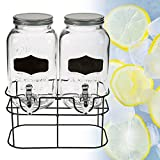 Di-Nesh (056) Getränkespender Doppel Behälter Glas Saftspender 2 x 4,0 Liter Zapfhahn