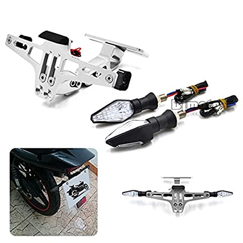 BJ Global Support de plaque d'immatriculation ajustable universel avec clignotants à LED pour moto