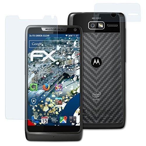 atFolix Schutzfolie kompatibel mit Motorola Razr i Panzerfolie, ultraklare & stoßdämpfende FX Folie (3er Set)