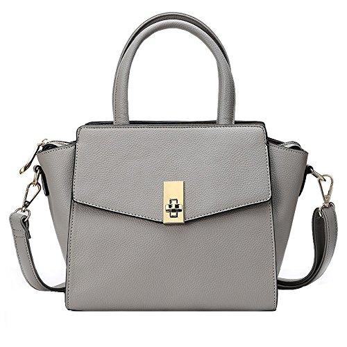 YsinoBear Frauen Handtaschen Mode entworfen TeenGirls Handtaschen Umhängetasche Messenger Bag Leder Tote Bag Damen Handtasche Geldbörse (Grau)