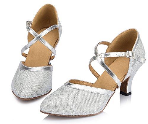 TDA , Bride de cheville femme 6cm Heel Silver