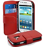 Cadorabo - Book Style Hülle für Samsung Galaxy S3 MINI (I8190) - Case Cover Schutzhülle Etui Tasche mit Kartenfach in INFERNO-ROT