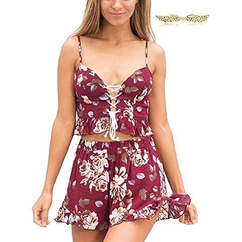 BYD da Donna Abito Tuta 2pcs Tops e Pantaloncini Corti Spiaggia Fionda Stampato Floreale Mini Abito da Casual / Vacanza / Spiaggia / Sera
