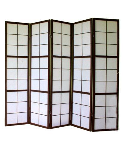 PEGANE Shoji Biombo japonés Madera Negro 5 Paneles