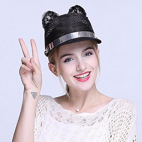 GXFC Chapeau de soleil à la mode Lady summer,chapeau de soleil en paille,chapeau de plage pliable,chapeau de paille,circonférence de la tête ajustée(56-59)cm