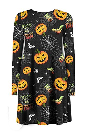 D'halloween Kostüm Fille - Fast Fashion Damen Schlauch Kleid Gr. X-Large, Citrouille Web Print Halloween Dress
