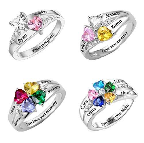Yanday Gravur Name Ring personalisierte Herzform Birthstone Ring Muttertag Ring(versilberter Sockel 70 (22.3))