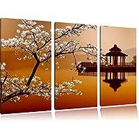 Cherry su con il lago giapponese 3 pezzi di immagini su tela 120x80 su tela, XXL Immagini enormi completamente Pagina con la barella, arte stampa sulla foto muro con cornice, gänstiger come un dipinto o un dipinto ad olio, non un manifesto o un