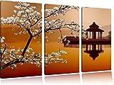 Cherry su con il lago giapponese 3 pezzi di immagini su tela 120x80 su tela, XXL Immagini enormi completamente Pagina con la barella, arte stampa sulla foto muro con cornice, gänstiger come un dipinto o un dipinto ad olio, non un manifesto o un banner
