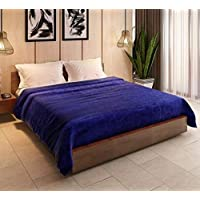 livingcreation Polyester & Polyester Blend 1150 TC Blanket (Double, Blue)