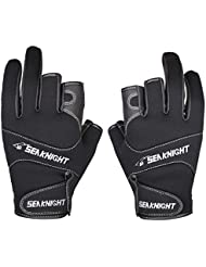SeaKnight Neoprene Outdoor Sport 3 Cut Fingers Fishing Gloves SK03 Anti-slip Windproof for Fishing Hunting Riding Cycling