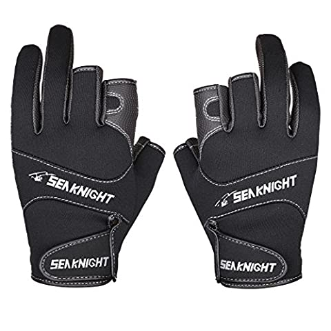 SeaKnight Neoprene Outdoor Sport 3 Cut Fingers Fishing Gloves SK03 Anti-slip Windproof for Fishing Hunting Riding Cycling Black Large