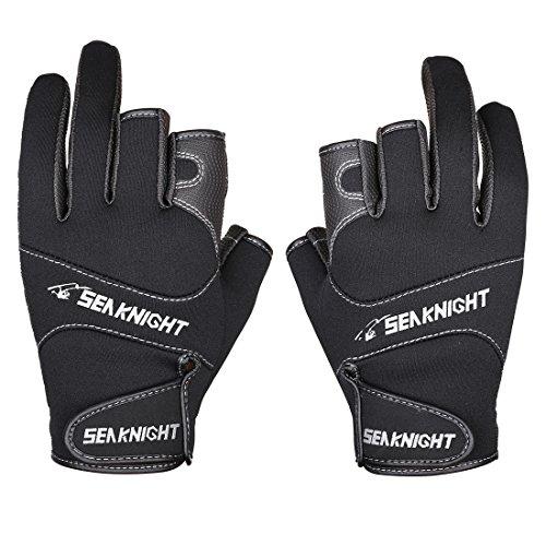 SeaKnight SK03 Neopren-Handschuhe, Outdoor, Sport, 3freie Finger, Angelhandschuhe, rutschfest, winddicht, zum Angeln, Jagen, Reiten, Fahrradfahren XL schwarz