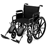 "D PRO T Extra Wide Seat 24"" Wide Wheelchair Folding Self Propelled Puncture Proof With MAG Wheel 50 stone limit"