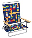 Rio Brands Classic 5 Position Lay Flat Folding Beach Chair, Multi/Blue