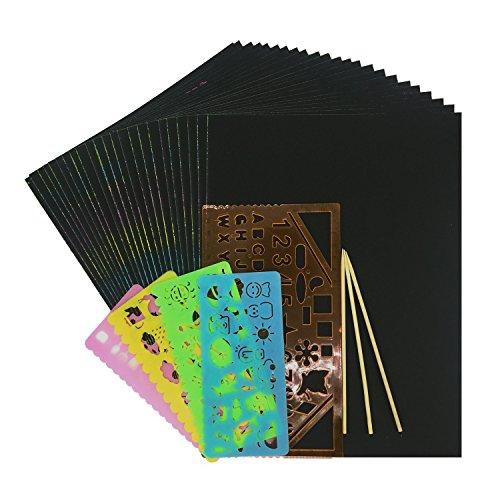 Wartoon Scratch Art Papier, 30 Blätter 21 x 28 cm Bunte DIY Kratzpapier Scratch Boards Schwarz Beschichtet Kunst Doodle Pad Malerei Papier mit 3 Stück Holzstylus und 5 Stück Malerei Lineale -