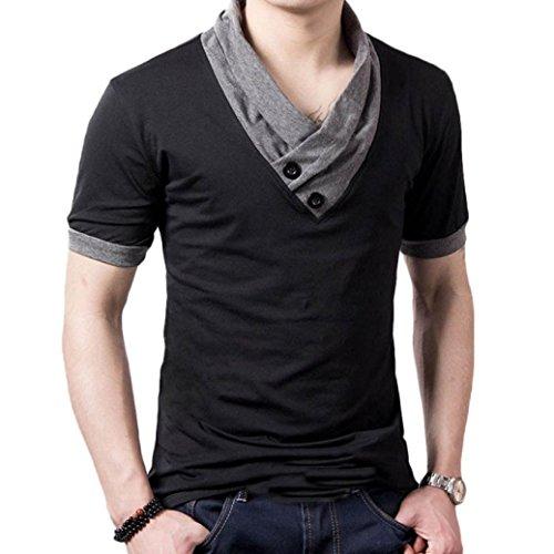 Amlaiworld Camisa de los hombres (informal, V cuello, algodón) (XXL, Negro)