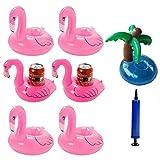 iLoveCos luftmatratze Wasser Flamingo Aufblasbarer Getränkehalter Flaschenhalter Poolbar Rettungsring im Flamingo und Kokospalmen Design