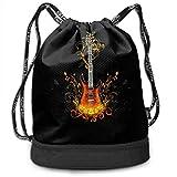 RAINNY Magic Guitar Large Drawstring Sport Backpack Sack Bag Sackpack