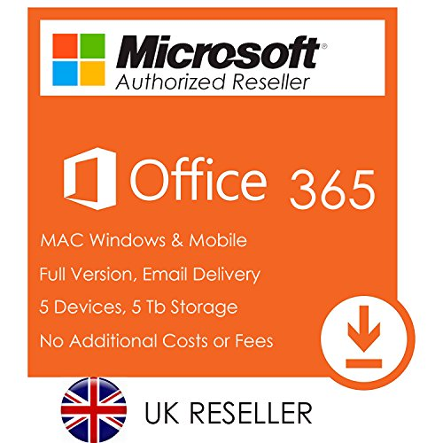 Price comparison product image Microsoft Office 365 Account - Office 2016 for 5 Devices 32 / 64 Bit PC / Mac and 5Tb Onedrive - Full UK Version - Free Email Delivery