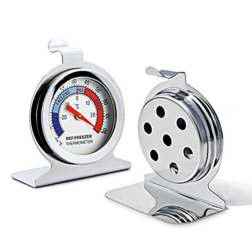 LaVibe Termómetro mecánico de acero inoxidable para frigorífico Fahrenheit Celsius de doble...