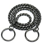 Moonpet™ P Choke Snake Chain Collar - Heavy Duty - Command Obedience Dog Training Slip Collar - Black 20 by Moonpet