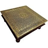 Purpledip Wooden Chowki Low Table Stool with Brass Sheet Cover 15 inch Vintage Antique Design Furniture; Housewarming Gift (10758a)