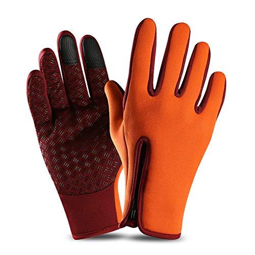YXMxxm Winterwinddichte Handschuhe Touchscreen-Handschuhe Warme Fahrhandschuhe für kalte Witterung Radfahren Laufen Outdoor-Aktivitäten,Orange,M