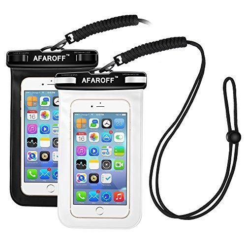 Wasserdichte Handyhülle, Afaroff 2 Stücke. IPX8 zertifiziert, wasserdicht und staubdicht. Geeignet für Surfen, Skifahren, Schwimmen, Tauchen, Angeln und andere Aktivitäten im Schießen. Passt für ein iphone, Samsung Galaxy, Huwei und alle anderen bis zu 6 Zoll. (Schwarz + weiß)