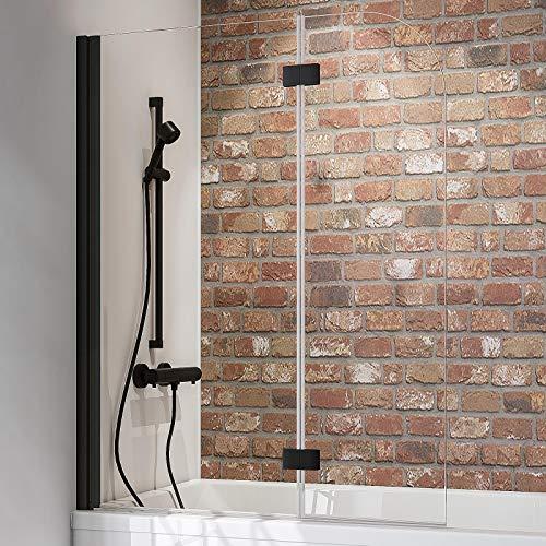 Schulte Duschwand Black Style, 112 x 140 cm, 5 mm Sicherheits-Glas klar, schwarz-matt, Duschabtrennung für Badewanne