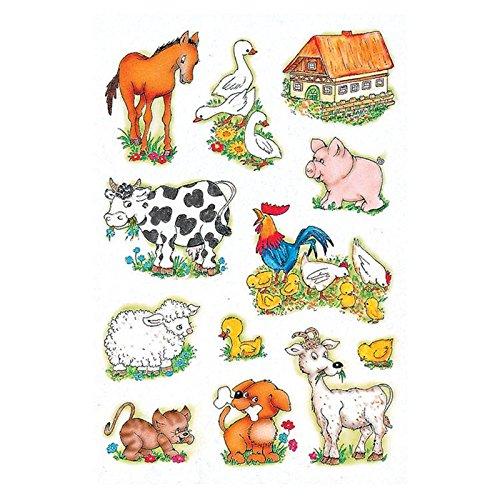 Schmucketikett Decor Papier Bauernhoftiere 3Bl 1Pack