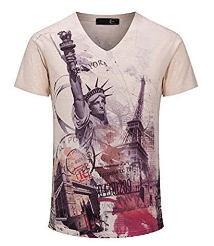 Dilize Men's 3D Printing Statue of Liberty T Shirt with Short Sleeve Beige L