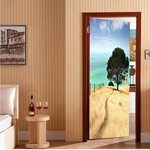 HWJ Türsticker Baum auf Grünland Tapete Fototapete Wandtattoo Wandtattoo 3D Fototapete Selbstklebende Türfolie 77 × 200cm