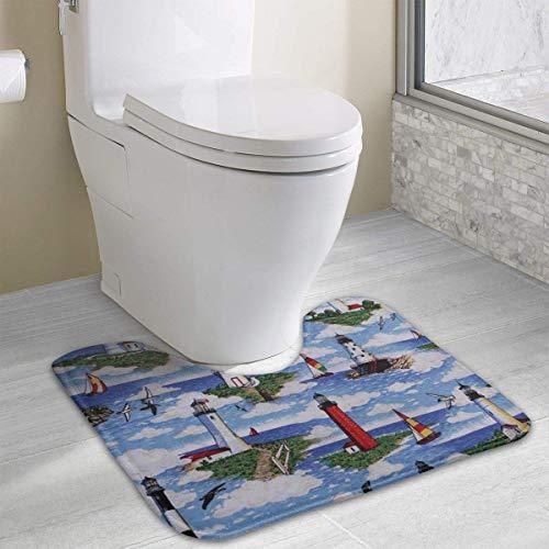Vidmkeo Little Giraffes Skidproof Toilet Seat U Shaped Cover Bath Mat Water Absorption Anti-Bacterial Soft Bath Floor Mat 15.7x19.3 Inches -