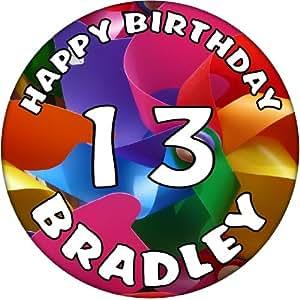 13th Birthday 'Personalised' Happy Birthday Windmill Celebration Badge - 59mm Gift Badges