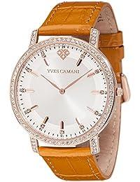 Yves Camani Damen-Armbanduhr Mayenne mit Lederarmband und hochwertigem Edelstahlgehäuse. Klassische Quarz-Uhr mit Steinbesetzer Lünette, Gehäuse und Zifferblatt.