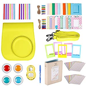 Neewer 10 en 1 Kit pour Fujifilm Instax Mini 8/8S/9 avec Housse/Album/Selfie Objectif/filtres 4colored/5film Table cadres/20 cadres/40 Border Stickers/2corner Stickers/Stylo