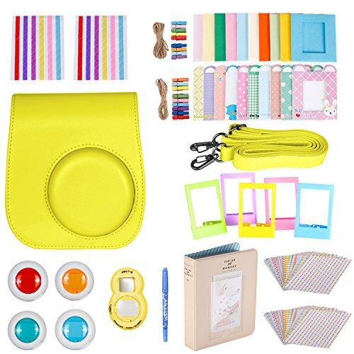 Kit di accessori 10 in 1 neewer per fujifilm instax mini 8/8s/9: custodia per fotocamera, album, lenti per selfie, filtri colorati, 5 adesivi per cornici da tavolo e da parete, 40 adesivi per bordi e 2 ad angolo, penna