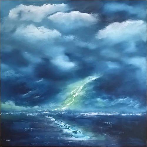 Posterlounge Leinwandbild 90 x 90 cm: Blitz von Andreas Lüken - fertiges Wandbild, Bild auf Keilrahmen, Fertigbild auf echter Leinwand, Leinwanddruck - Satori Leinwand