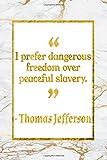 Telecharger Livres I Prefer Dangerous Freedom Over Peaceful Slavery Gold Marble Thomas Jefferson Quote Notebook (PDF,EPUB,MOBI) gratuits en Francaise